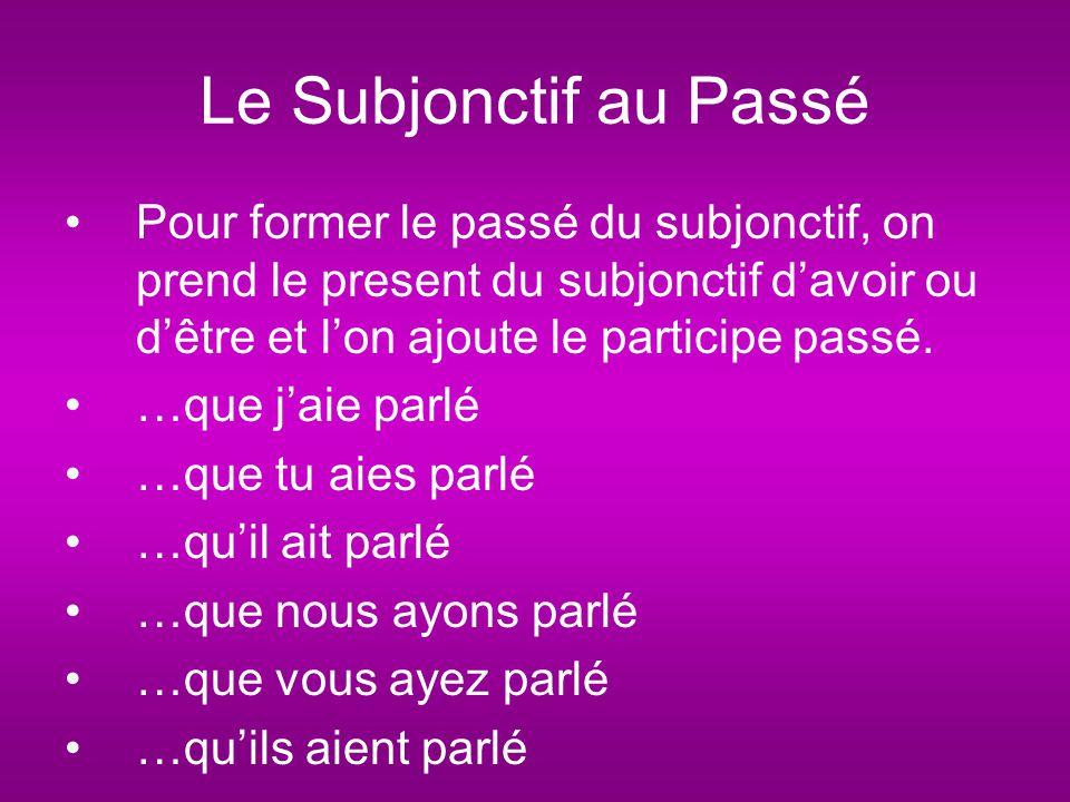 Le Subjonctif au Passé Pour former le passé du subjonctif, on prend le present du subjonctif d'avoir ou d'être et l'on ajoute le participe passé.