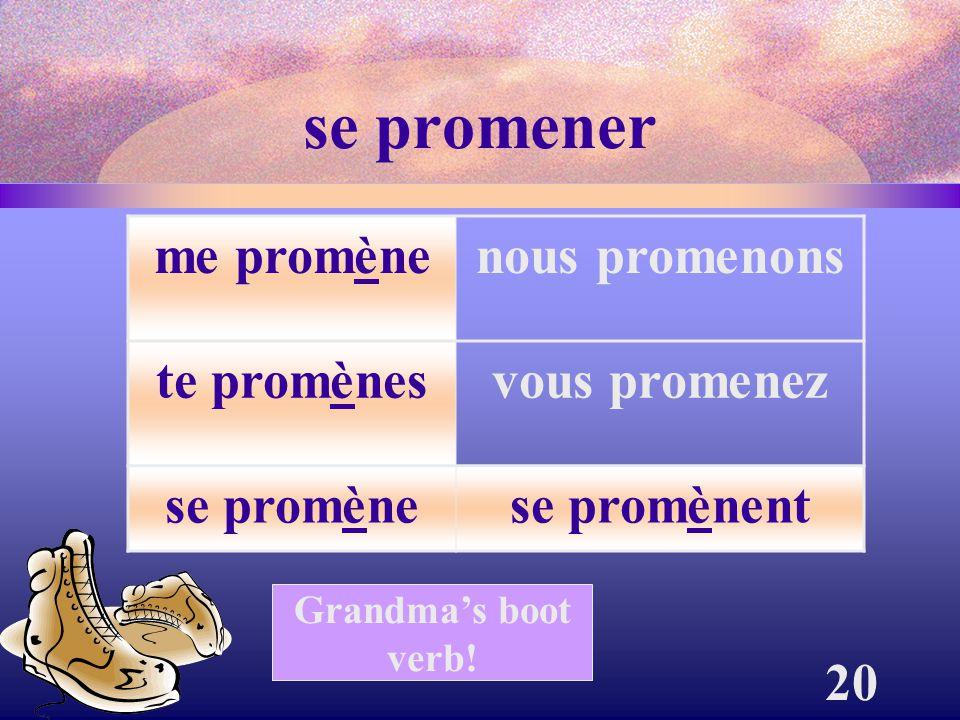 20 se promener me promènenous promenons te promènesvous promenez se promènese promènent Grandma's boot verb!