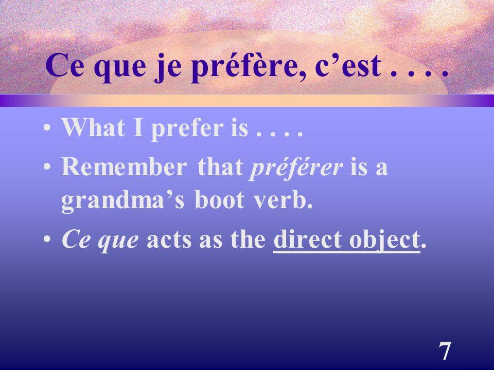8 Ce qui me plaît, c'est (de)....What I like is....