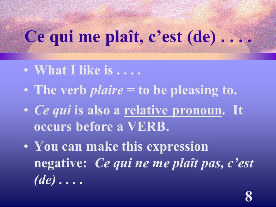 9 Ce qui m'ennuie, c'est (de).... What bores me is.... Ce qui acts as the subject.