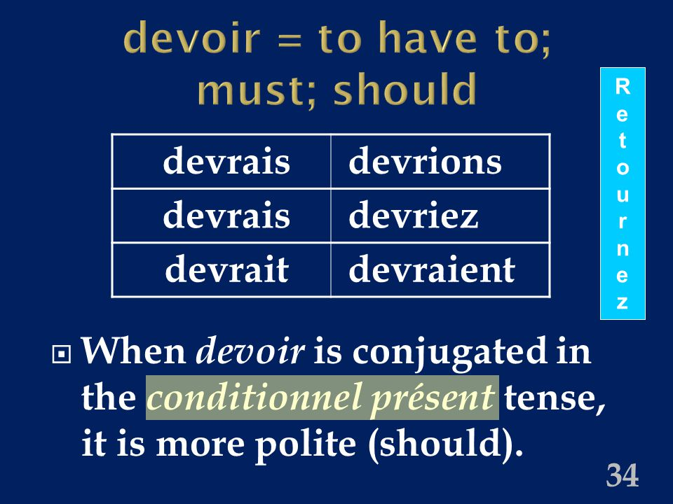 devoir = to have to; must; should  When devoir is conjugated in the conditionnel présent tense, it is more polite (should).