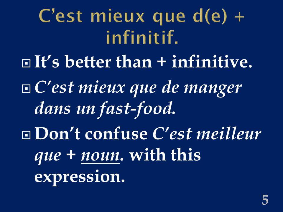 Évite(z) de + infinitif. Avoid + infinitive.  Jean-Paul, évite de manger trop de sucre .