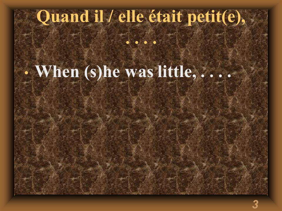 3 Quand il / elle était petit(e),.... When (s)he was little,....