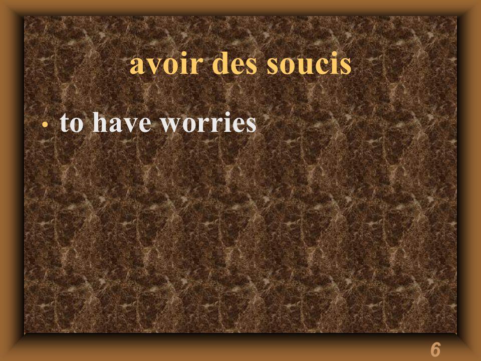6 avoir des soucis to have worries