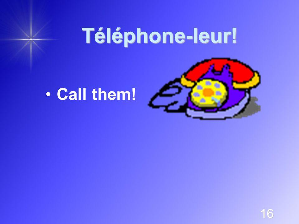 16 Téléphone-leur! Call them!