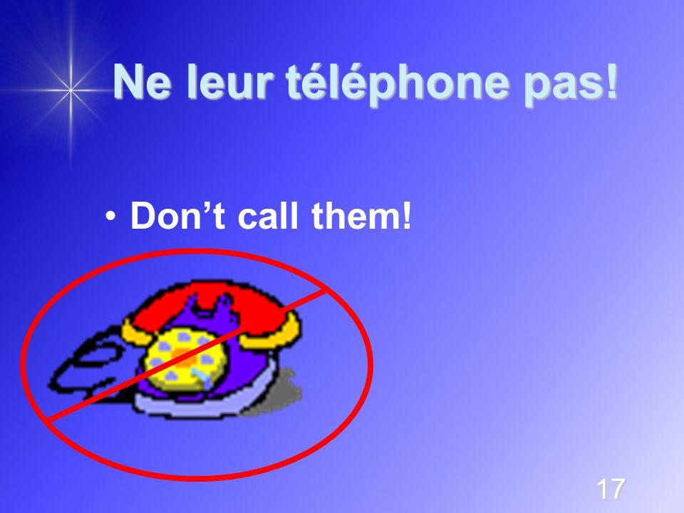 17 Ne leur téléphone pas! Don't call them!