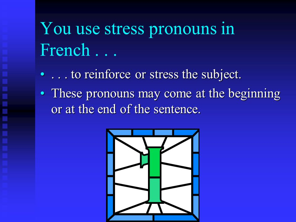 You use stress pronouns in French......in an incomplete sentence that has no verb....