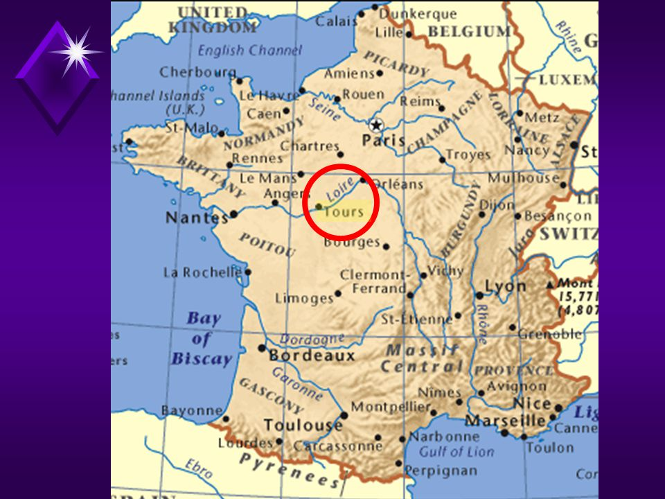 Touraine recaptured from the English by Joan of Arc in 1429 during the Hundred Years' War (1337-1453) the playgroud of French kings from the 15 th to the 17 th centuries within a 60-km radius of the city of Tours, there are over 200 châteaux