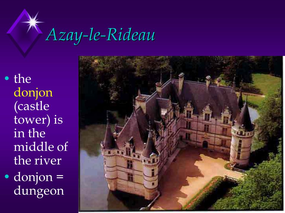 Azay-le-Rideau the donjon (castle tower) is in the middle of the river donjon = dungeon
