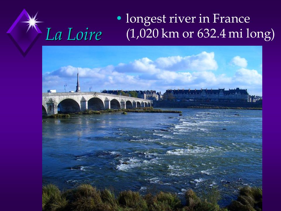 La Loire longest river in France (1,020 km or 632.4 mi long)