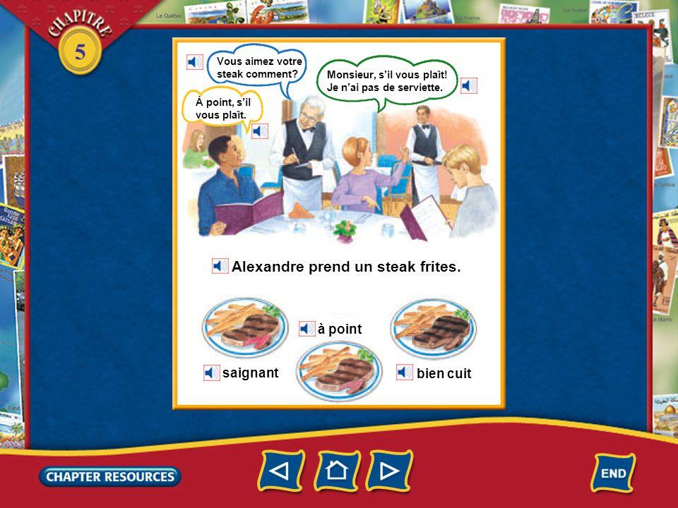 5 Au restaurant Alexandre va au restaurant. Il ne va pas au restaurant tout seul.