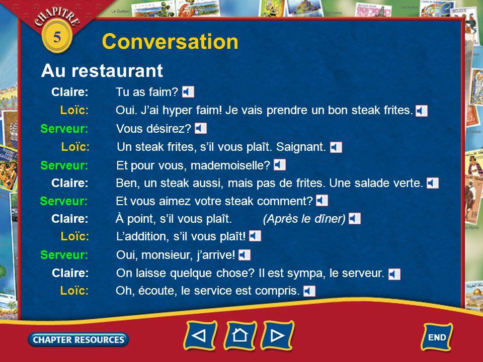 5 Conversation Claire: Tu as faim. Loïc: Oui. J'ai hyper faim.
