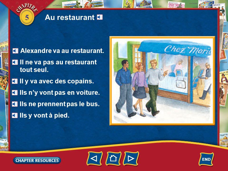 5 Au restaurant Alexandre va au restaurant.Il ne va pas au restaurant tout seul.
