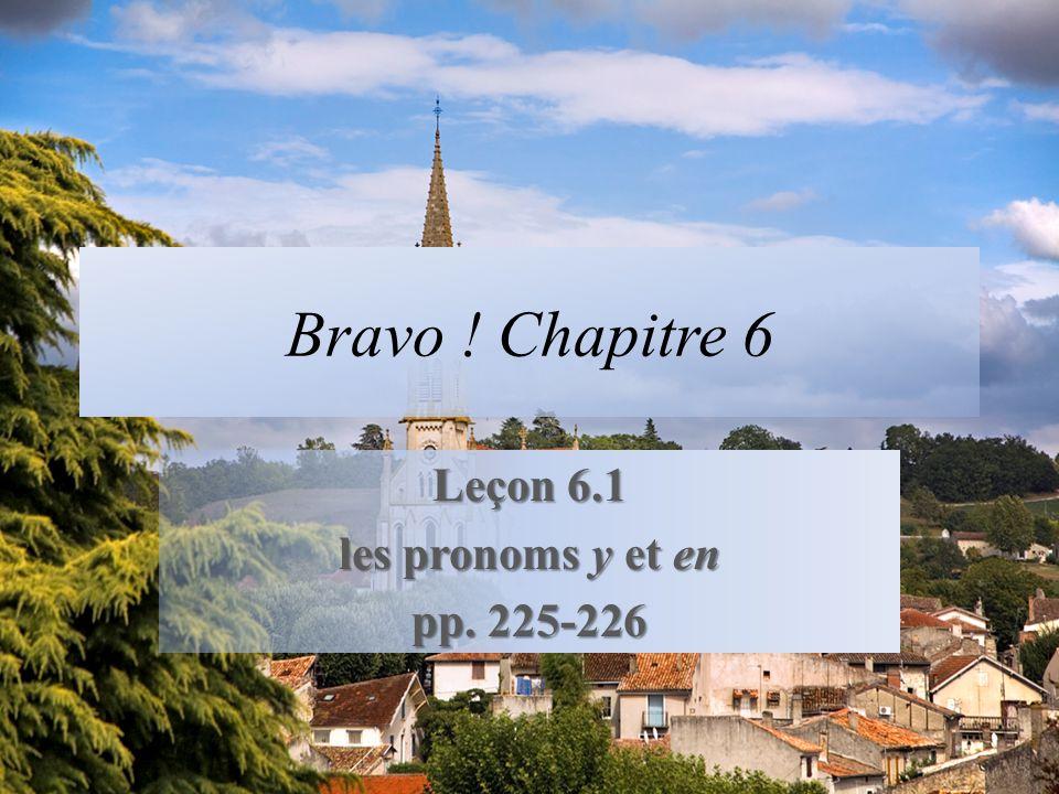 Bravo ! Chapitre 6 Leçon 6.1 les pronoms y et en pp. 225-226