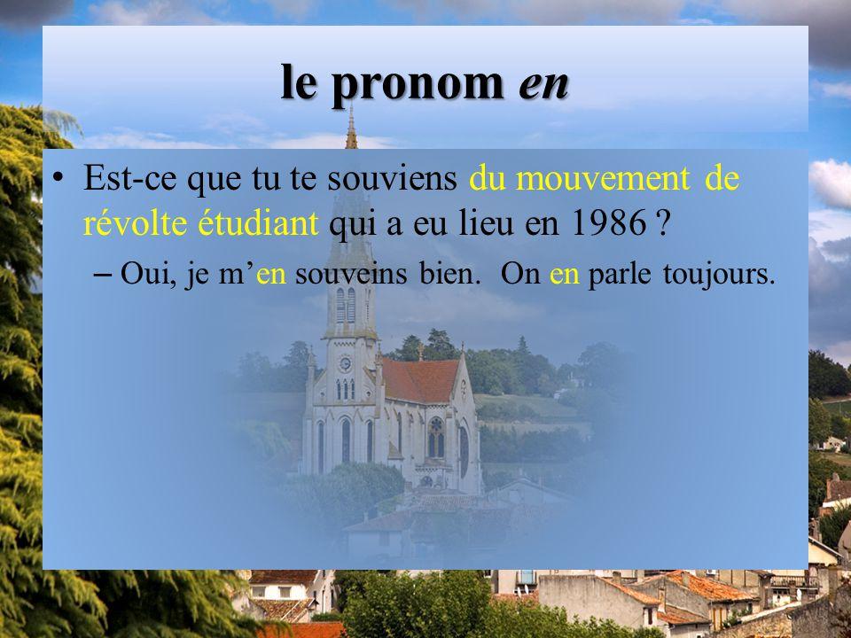 le pronom en Est-ce que tu te souviens du mouvement de révolte étudiant qui a eu lieu en 1986 .