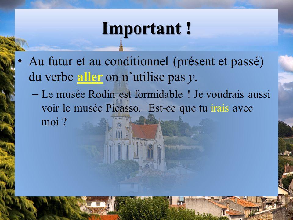 Important .Au futur et au conditionnel (présent et passé) du verbe aller on n'utilise pas y.