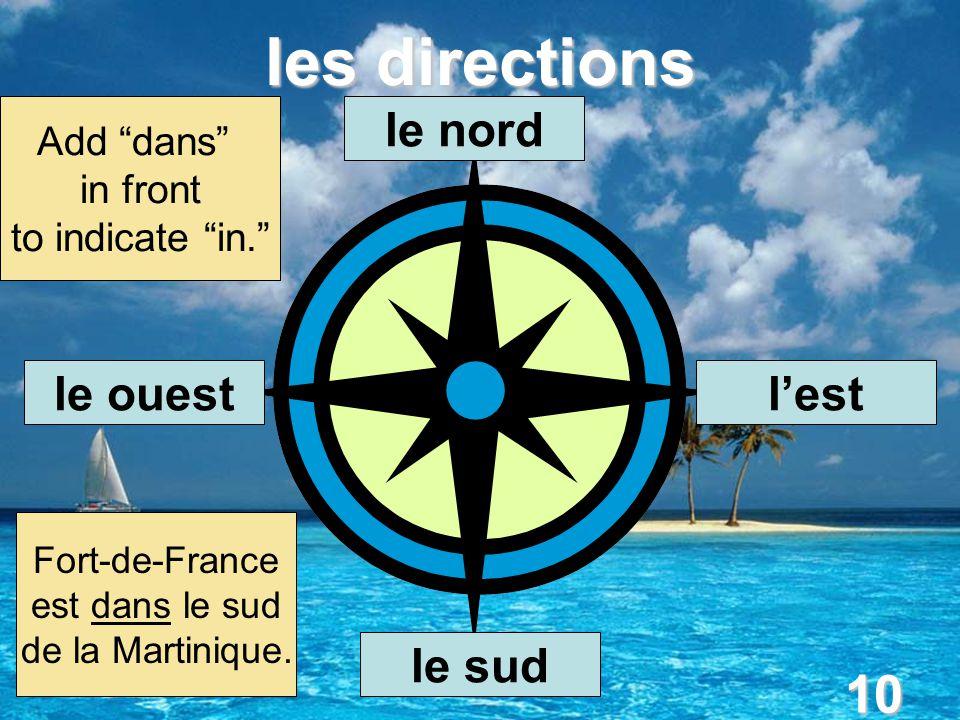 10 les directions le nord l'est le sud le ouest Add dans in front to indicate in. Fort-de-France est dans le sud de la Martinique.