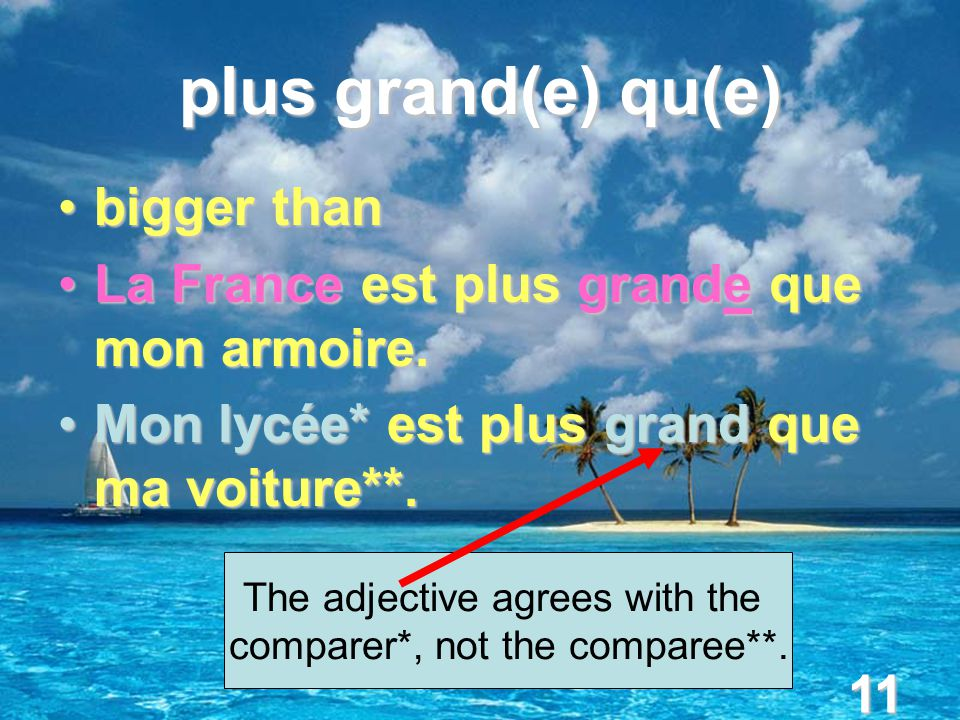 11 plus grand(e) qu(e) bigger thanbigger than La France est plus grande que mon armoire.La France est plus grande que mon armoire.