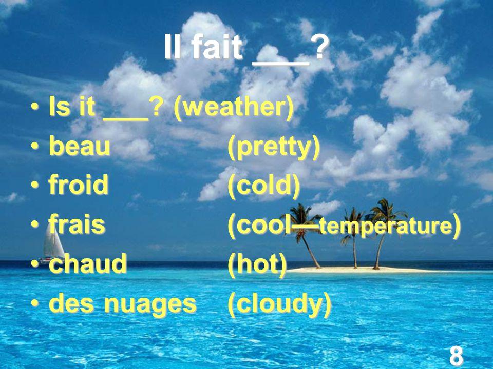 8 Il fait ___. Is it ___. (weather)Is it ___.