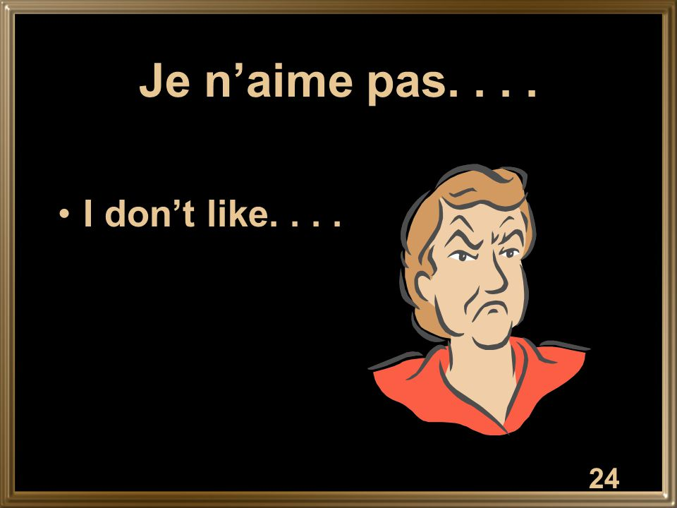 24 Je n'aime pas.... I don't like....