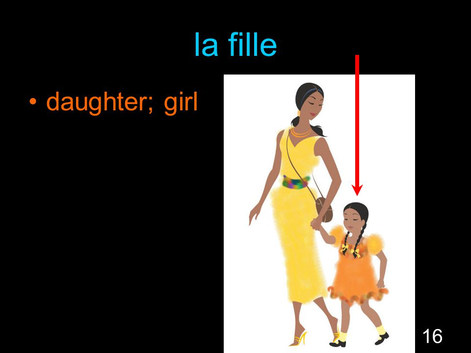 16 la fille daughter; girl