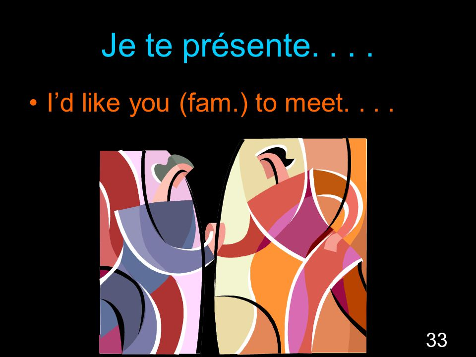 33 Je te présente.... I'd like you (fam.) to meet....