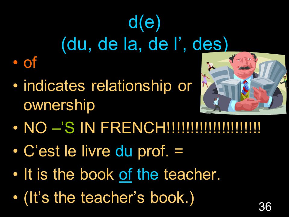 36 d(e) (du, de la, de l', des) of indicates relationship or ownership NO –'S IN FRENCH!!!!!!!!!!!!!!!!!!!!.