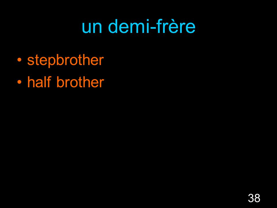 38 un demi-frère stepbrother half brother