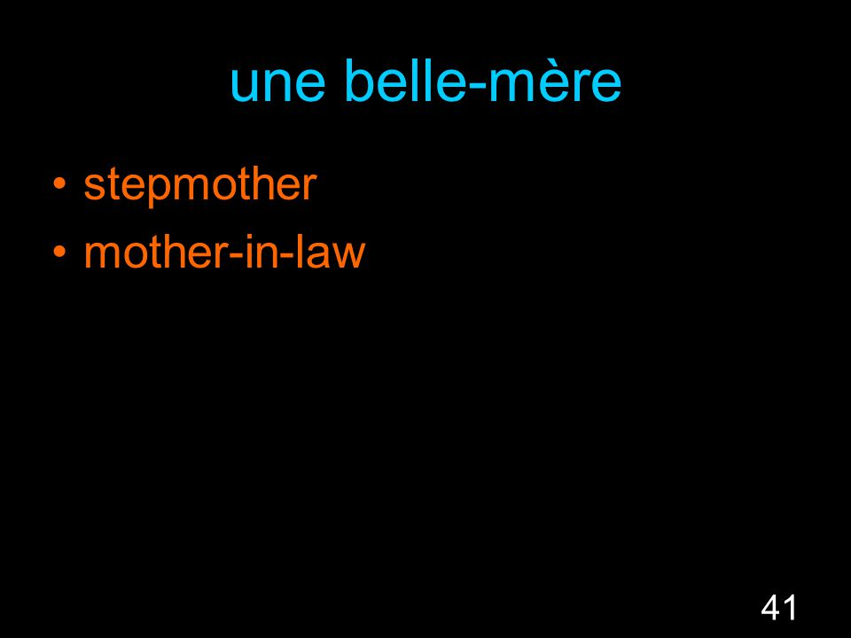 41 une belle-mère stepmother mother-in-law