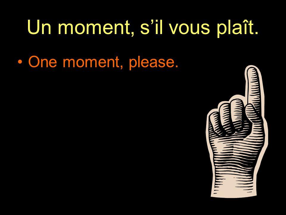 Un moment, s'il vous plaît. One moment, please.