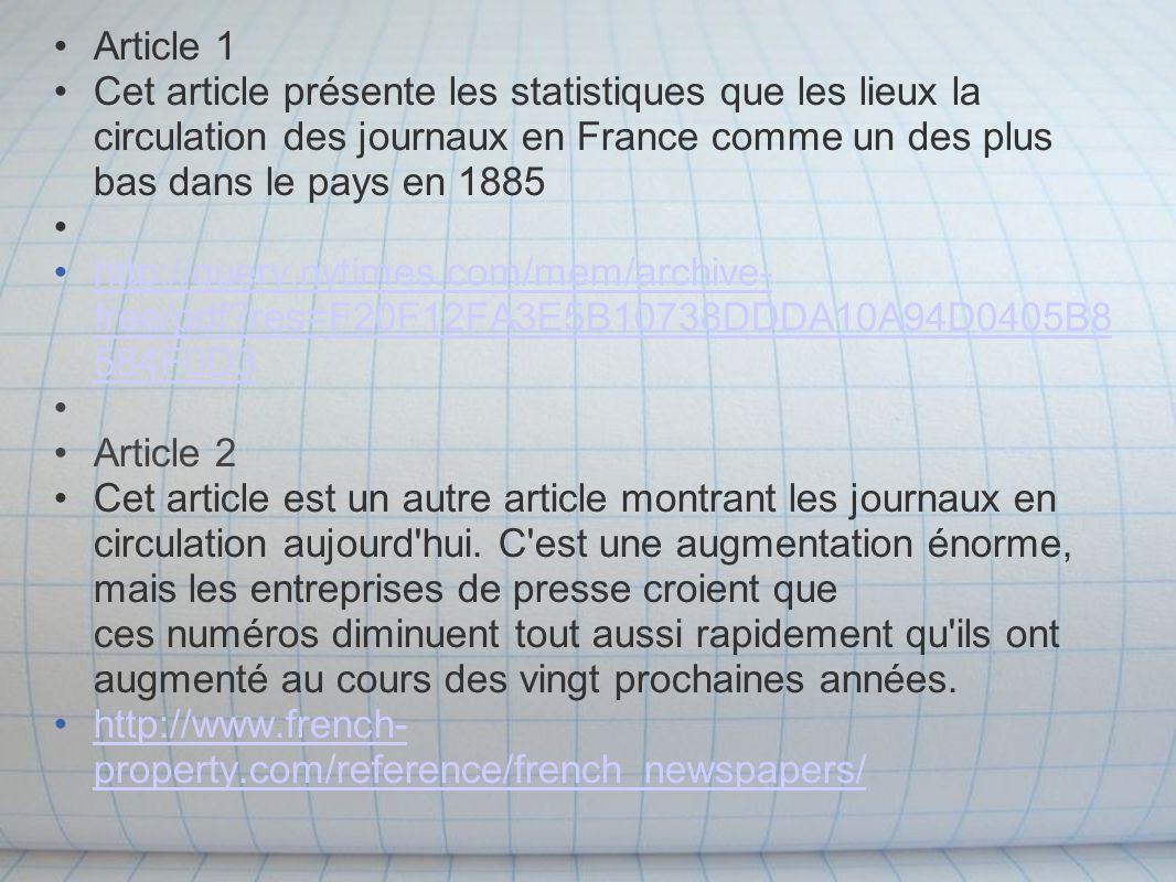 Article 1 Cet article présente les statistiques que les lieux la circulation des journaux en France comme un des plus bas dans le pays en 1885 http://query.nytimes.com/mem/archive- free/pdf res=F20F12FA3E5B10738DDDA10A94D0405B8 584F0D3http://query.nytimes.com/mem/archive- free/pdf res=F20F12FA3E5B10738DDDA10A94D0405B8 584F0D3 Article 2 Cet article est un autre article montrant les journaux en circulation aujourd hui.