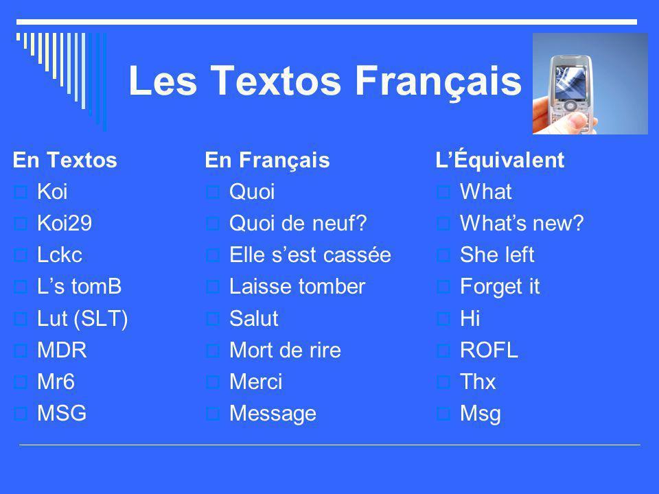Les Textos Français En Textos  Koi  Koi29  Lckc  L's tomB  Lut (SLT)  MDR  Mr6  MSG En Français  Quoi  Quoi de neuf?  Elle s'est cassée  L