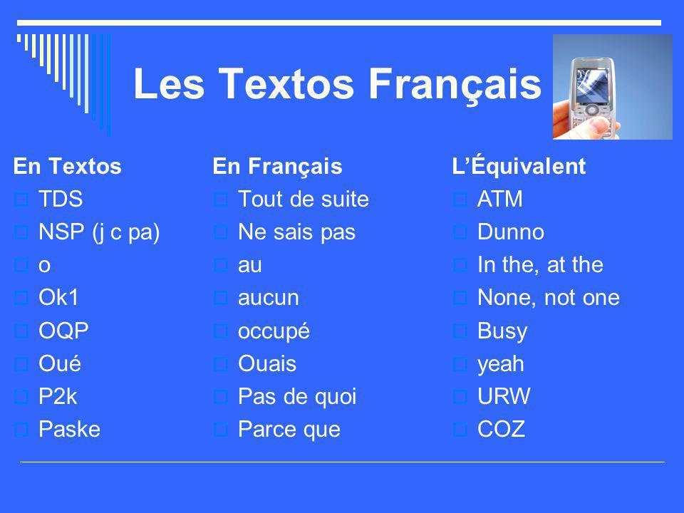 Les Textos Français En Textos  TDS  NSP (j c pa)  o  Ok1  OQP  Oué  P2k  Paske En Français  Tout de suite  Ne sais pas  au  aucun  occupé