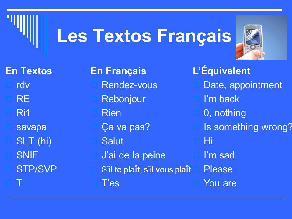 Les Textos Français En Textos  rdv  RE  Ri1  savapa  SLT (hi)  SNIF  STP/SVP  T En Français  Rendez-vous  Rebonjour  Rien  Ça va pas?  Sa