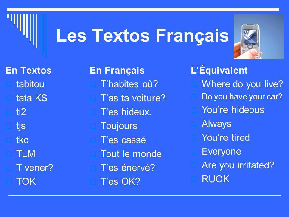 Les Textos Français En Textos  tabitou  tata KS  ti2  tjs  tkc  TLM  T vener?  TOK En Français  T'habites où?  T'as ta voiture?  T'es hideu