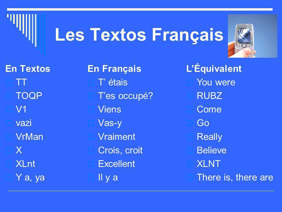 Les Textos Français En Textos  TT  TOQP  V1  vazi  VrMan  X  XLnt  Y a, ya En Français  T' étais  T'es occupé?  Viens  Vas-y  Vraiment 