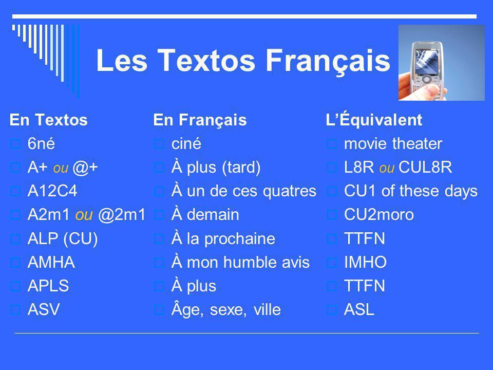 Les Textos Français En Textos  6né  A+ ou @+  A12C4  A2m1 ou @2m1  ALP (CU)  AMHA  APLS  ASV En Français  ciné  À plus (tard)  À un de ces