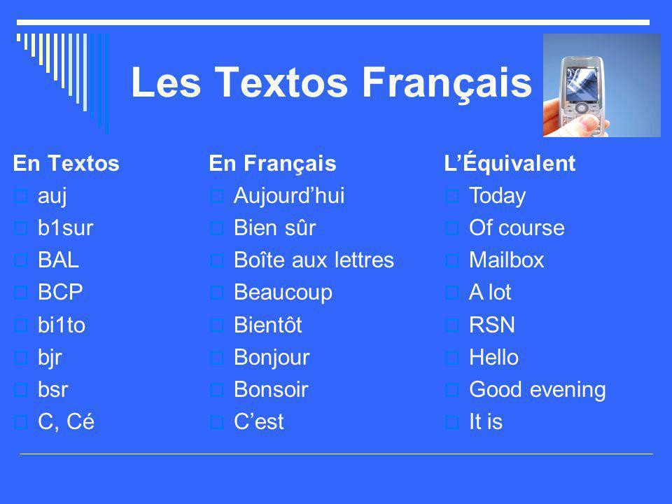 Les Textos Français En Textos  auj  b1sur  BAL  BCP  bi1to  bjr  bsr  C, Cé En Français  Aujourd'hui  Bien sûr  Boîte aux lettres  Beaucou