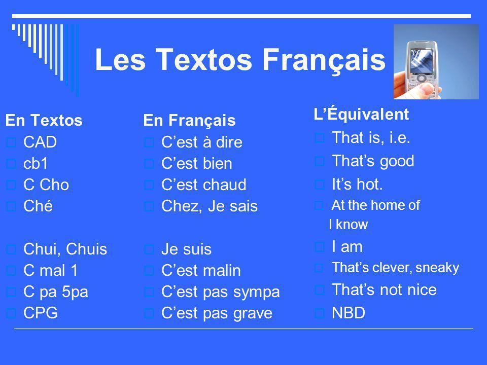 Les Textos Français En Textos  CAD  cb1  C Cho  Ché  Chui, Chuis  C mal 1  C pa 5pa  CPG En Français  C'est à dire  C'est bien  C'est chaud  Chez, Je sais  Je suis  C'est malin  C'est pas sympa  C'est pas grave L'Équivalent  That is, i.e.