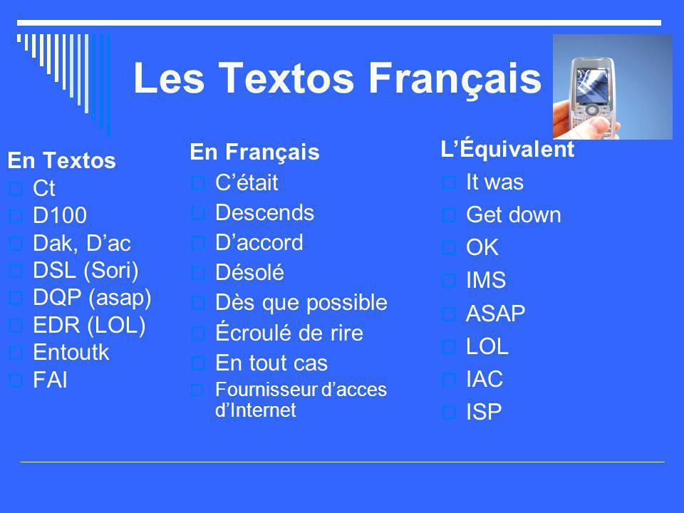 Les Textos Français En Textos  FDS (WE)  G  G1id2kdo  GHT2V1  G la N  GspR b1  Gt  Je c En Français  Fin de semaine  J'ai  J'ai un id é e de cadeau  J'ai acheté du vin  J'ai la haine  J' éspère bien  J' étais  Je sais L'Équivalent  WE, wknd  I have  I have an idea for a gift  I bought some wine  H8  I hope so  I was  I know