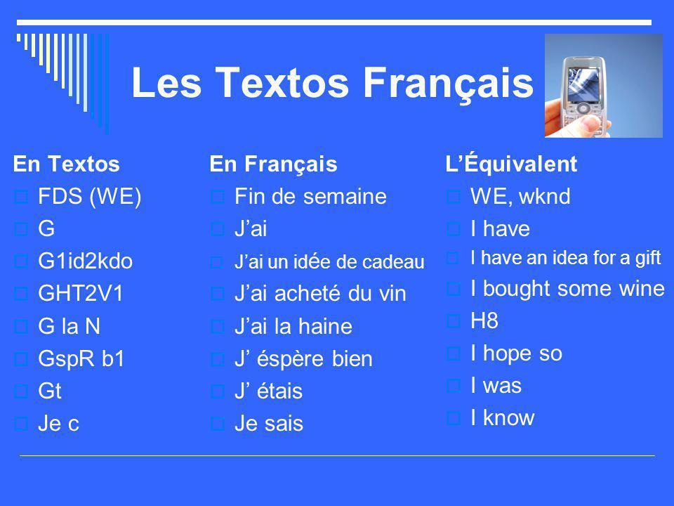 Les Textos Français En Textos  FDS (WE)  G  G1id2kdo  GHT2V1  G la N  GspR b1  Gt  Je c En Français  Fin de semaine  J'ai  J'ai un id é e d