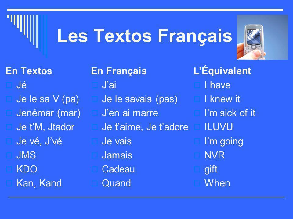 Les Textos Français En Textos  Jé  Je le sa V (pa)  Jenémar (mar)  Je t'M, Jtador  Je vé, J'vé  JMS  KDO  Kan, Kand En Français  J'ai  Je le savais (pas)  J'en ai marre  Je t'aime, Je t'adore  Je vais  Jamais  Cadeau  Quand L'Équivalent  I have  I knew it  I'm sick of it  ILUVU  I'm going  NVR  gift  When