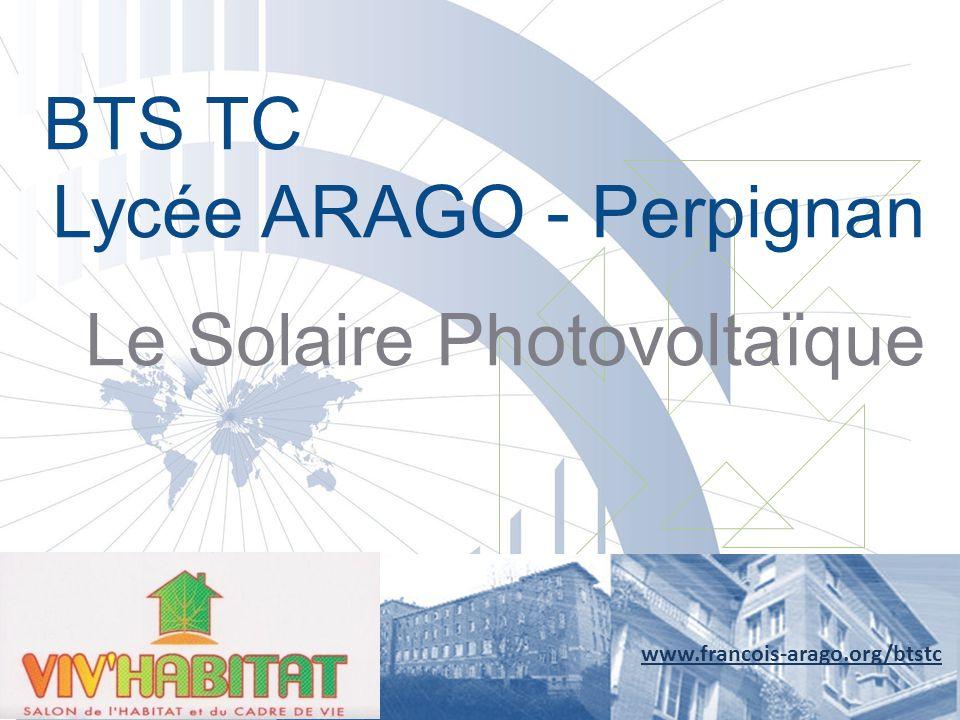 Panneaux solaires photovoltaïques www.francois-arago.org/btstc Le panneau solaire photovoltaïque transforme l'énergie lumineuse du soleil en électricité Panneaux solaires photovoltaïques Onduleur Compteur consommation et compteur production Aspect technologique