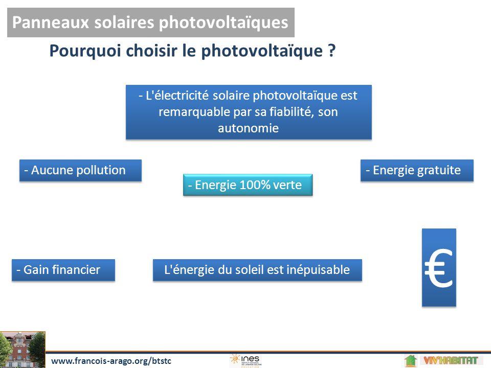 Panneaux solaires photovoltaïques www.francois-arago.org/btstc Pourquoi choisir le photovoltaïque .