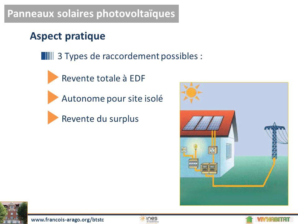 Retour sur l'investissement calculé pour 8,5 ans 23 402 € Gain de 2067 €/an Panneaux solaires photovoltaïques www.francois-arago.org/btstc Coût d'installation Raccordée au réseau:
