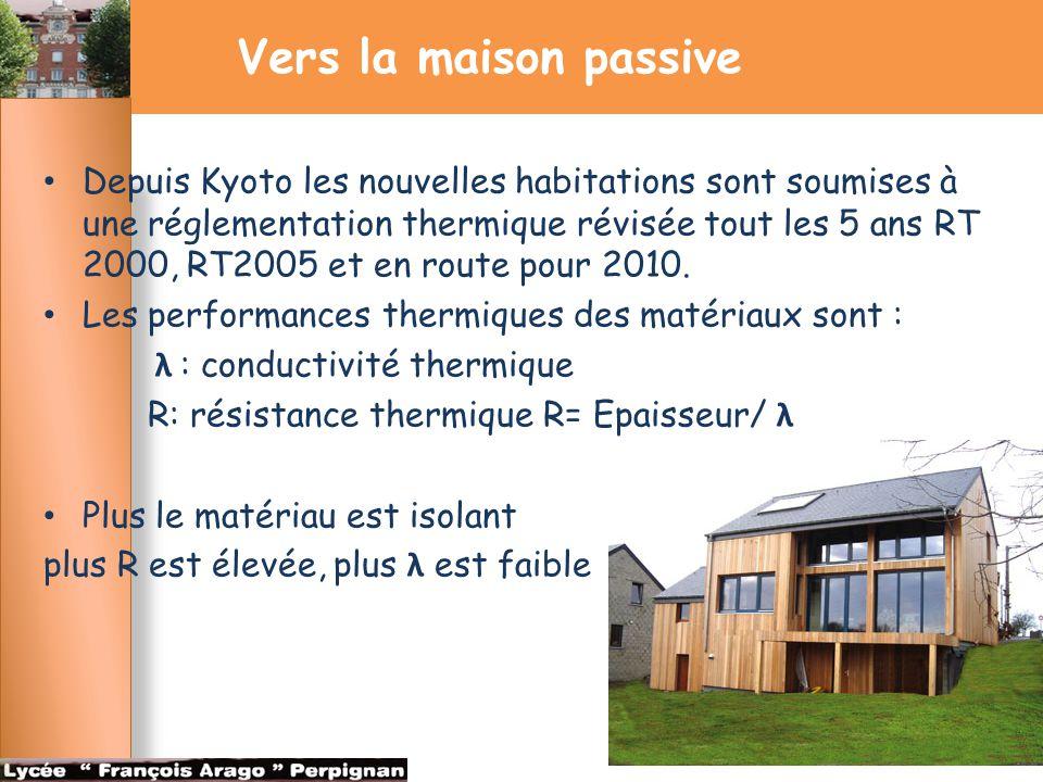Vers la maison passive Depuis Kyoto les nouvelles habitations sont soumises à une réglementation thermique révisée tout les 5 ans RT 2000, RT2005 et e