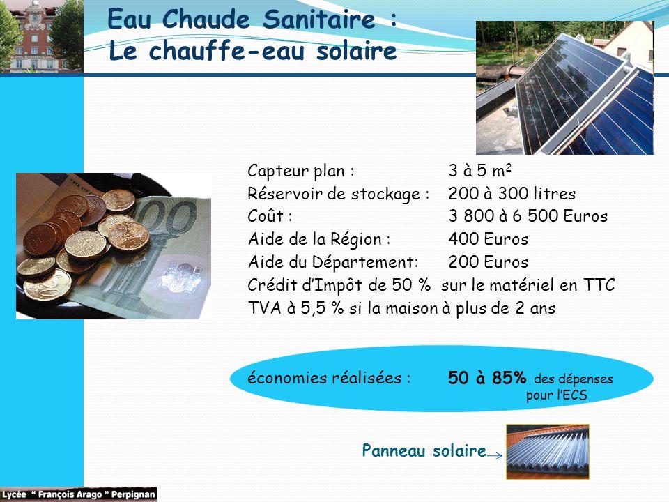 Eau Chaude Sanitaire : Le chauffe-eau solaire Capteur plan : 3 à 5 m 2 Réservoir de stockage : 200 à 300 litres Coût :3 800 à 6 500 Euros Aide de la Région :400 Euros Aide du Département:200 Euros Crédit d'Impôt de 50 % sur le matériel en TTC TVA à 5,5 % si la maison à plus de 2 ans économies réalisées : 50 à 85% des dépenses pour l'ECS Panneau solaire