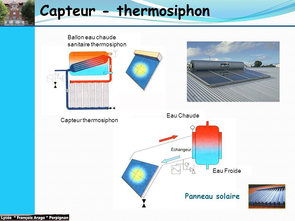 Capteur - thermosiphon Panneau solaire Eau Froide Eau Chaude Ballon eau chaude sanitaire thermosiphon Capteur thermosiphon
