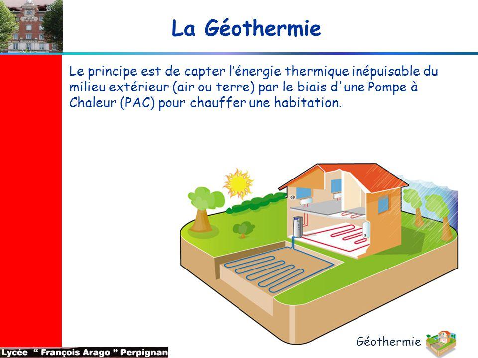 La Géothermie Le principe est de capter l'énergie thermique inépuisable du milieu extérieur (air ou terre) par le biais d'une Pompe à Chaleur (PAC) po