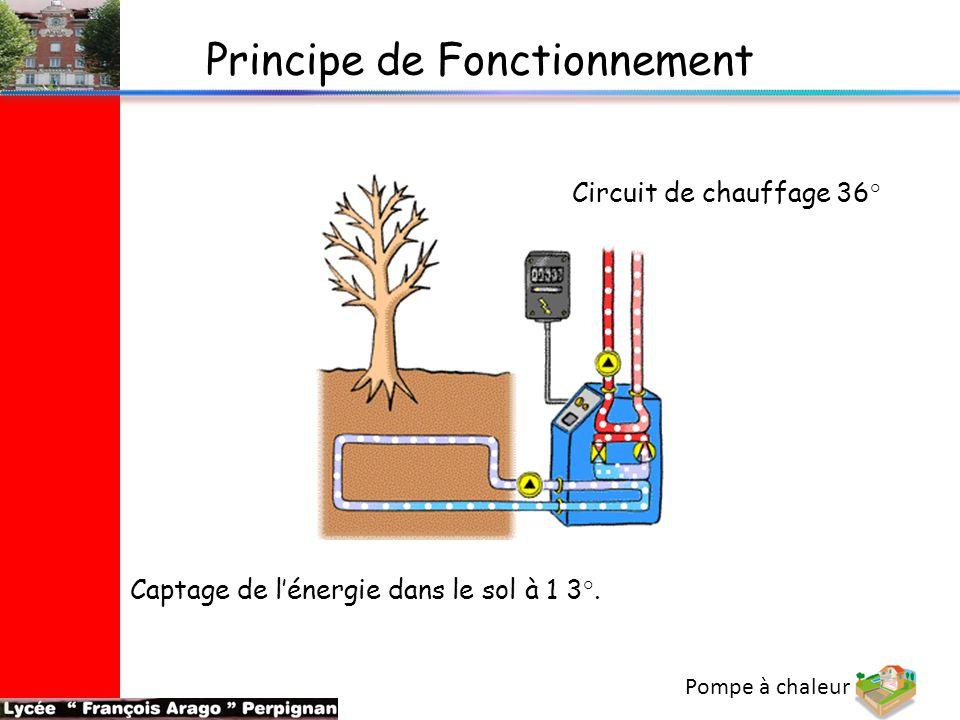 Pompe à chaleur Captage de l'énergie dans le sol à 1 3°. Principe de Fonctionnement Circuit de chauffage 36°